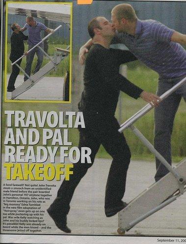 John Travolta kiss another man