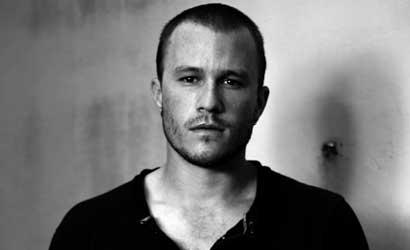 Heath Ledger black and white pic